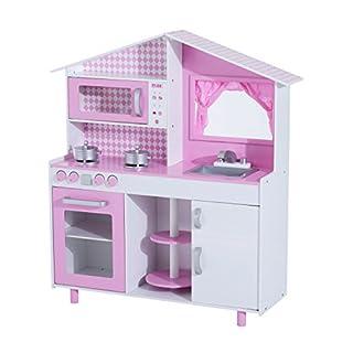 HOMCOM Kinderküche Spielküche Spielzeugküche Kinderspielküche Spielzeug mit/ohne Zubehör/Fenster (Modell4/ rosa + weiß)