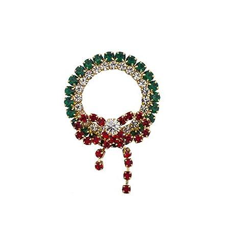 Lux Accessoires de vacances de Noël Rouge Vert Strass Couronne Broche