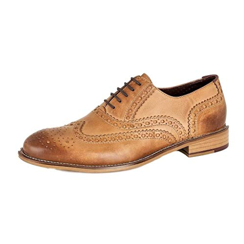 London Brogues Gatsby Leather Herren Brogue Halbschuhe, Beige (Tan), Gr. 49