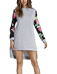 Vestiti Donna Eleganti Stampato Floreali Etno Style Manica Lunga Rotondo  Collo Chic Hippie Moda Casual Autunno fd09acf5f37