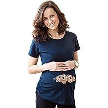 Highdas Mama Embarazada Camiseta con el patrón del bebé del pío Divertido Mujeres ...