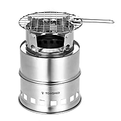 TOMSHOO Camping Stove/Backpacking Stove Portable Folding Windproof Wood Burning Stove Compact Stainless Steel Alcohol Stove Outdoor Camping Hiking Backpacking Picnic BBQ