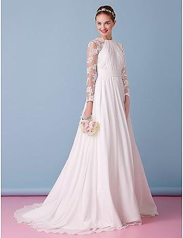 Heart&M A-line Wedding Dress Sweep / Brush Train Jewel Chiffon / Lace with Draped / Lace , us 22w / uk 26 / eu