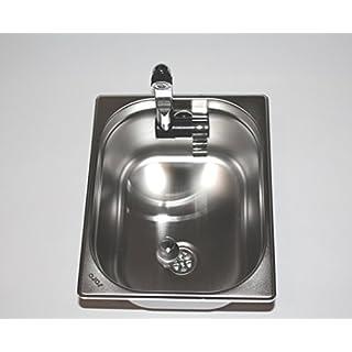 Edelstahl Spülbecken Camping Spüle Waschbecken + Ablauf 325x265x150mm London Wasserhahn integriert (ad-ideen)