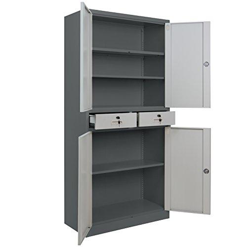 4er Set Spind Büroschrank 180 x 85 x 40 cm Mehrzweckschrank mit Schubläden und Einlegeböden Schließfachschrank Wertfachschrank Ordnerschrank Metallschrank, Farbe:Dunkelgrau - Grau