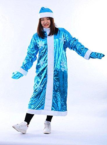 Marcus R Caveggf Frauen Fräulein Santa Damen Sexy blau Süße Fräulein Weihnachtsmann Weihnachten Schneeflocke Muster Kostüm und Hut