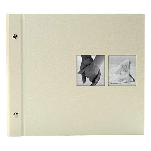Goldbuch Schraubalbum mit Fensterausschnitt, Chromo, 30 x 25 cm, 40 weiße Seiten mit Pergamin-Trennblättern, Erweiterbar, Beschichtetes Leinen, Beige, 26847