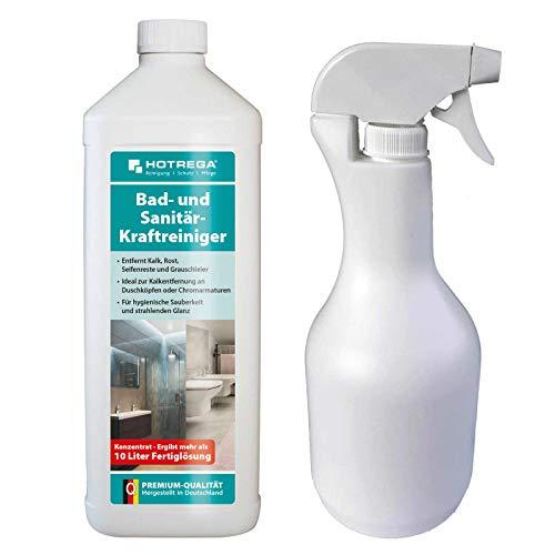 HOTREGA Bad und Sanitär Kraftreiniger 1 L Konzentrat + Sprühflasche 1 L