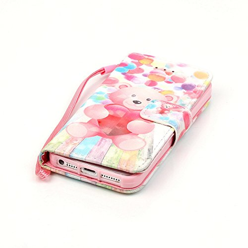 iPhone SE Hülle,iPhone 5S Hülle,iPhone SE/5S Ledertasche Brieftasche im BookStyle,SainCat PU Leder Wallet Case Folio Schutzhülle [Golden Butterfly Muster] Hülle Lederhülle Bumper Handytasche Skin Scha Ballon-Bär