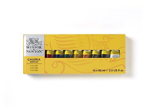 Winsor & Newton 2190517 Galeria Acrylfarbe, hohe Pigmentierung, lichtecht, buttrige Konsistenz, Farbenset 10 Acrylfarben in 60ml Tuben