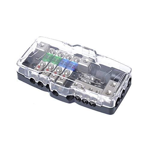 SEN Blocco fusibili distribuzione Audio Stereo per Auto Blocco fusibili ANL 0 / 4ga Scatola fusibili a 4 Vie Nero