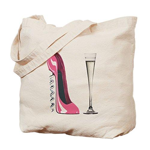 CafePress-Rosa Korkenzieher Stiletto und Champagner Flöte Tote B-Leinwand Natur Tasche, Reinigungstuch Einkaufstasche