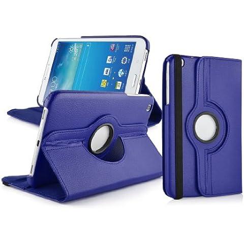 JAMMYLIZARD | Funda De Piel Giratoria 360 Grados Para Samsung Galaxy Tab 3 8.0 Smart Case Cover, AZUL