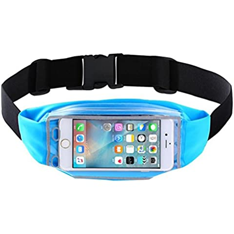 TeyxoCo Cycling Running Belt Pack Fanny Pack Finger Touch Waist Pack Blue