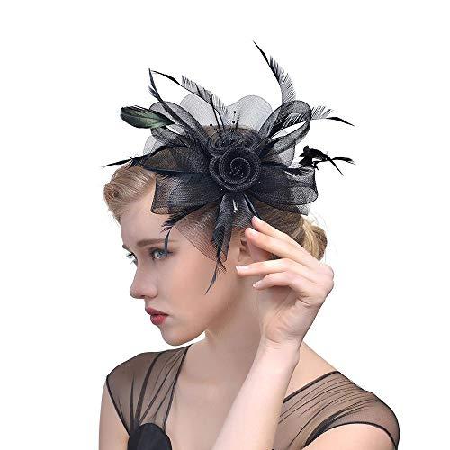 WYJHNL Fascinator Hüte für Frauen Cocktail Hochzeit Tea Party Hüte für Frauen Kopfbedeckung mit Haarspange, Blume und Federschmuck,Black
