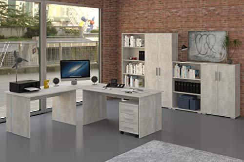Büromöbel Set 8 Teile in Betonoptik grau, Arbeitszimmer, Möbel, Büroeinrichtung (Komplettset 8-Teilig)