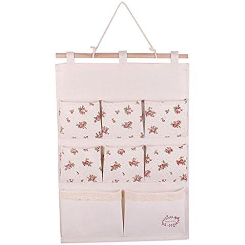 GudeHome Lino / algodón Tela puerta de la pared Organizador Vestidor bolsa de almacenamiento caso 8 bolsillos del organizador del