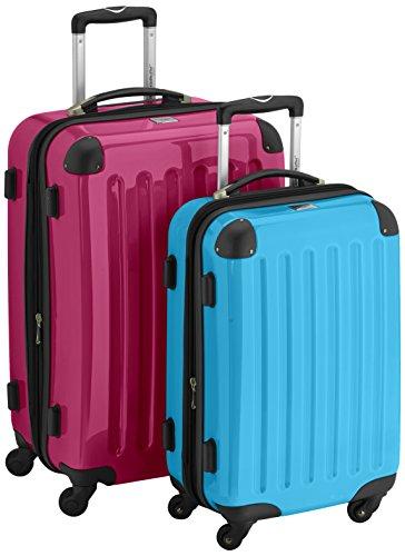 HAUPTSTADTKOFFER - Alex - 2er Koffer-Set Hartschale glänzend, 65 cm + 55 cm, 74 Liter + 42 Liter, Graphit-Blau Magenta-Cyanblau