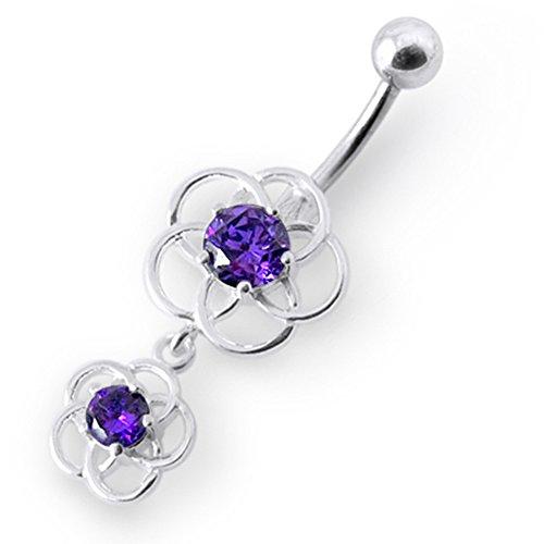 Bijou de Corps anneau de nombril en argent motif celtique pierres fantaisies pendant Purple