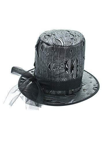 Gotica d'argento cilindro / carnevale nero halloween cappello steampunk