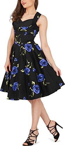 Black Butterfly 'Aura' Classic Infinity Kleid im 50er-Jahre-Stil Große Blaue Rosen