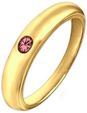 CLEVER SCHMUCK-SET Goldener Taufring schlicht Ø 12 mm mit Rubin rot glänzend 333 GOLD 8 KARAT im Etui