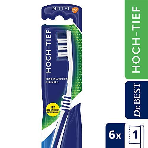 Dr.BEST Hoch-Tief Zahnbürste, Mittel (6 x 1 Stück), Für eine gründliche Reinigung zwischen den Zähnen mit geschwungenem Bürstenprofil -