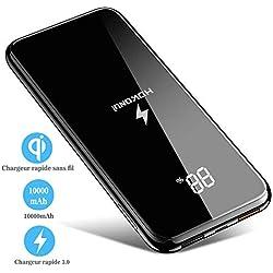Chargeur à Induction sans Fil,Chargeur Portable 10000mAh Batterie Externe Chargeur Rapide 3.0 avec Écran Numérique Support de Téléphone Mobile Double Entrée pour iPhone XR/XS/8/7 Samsung S9+/S8/S7