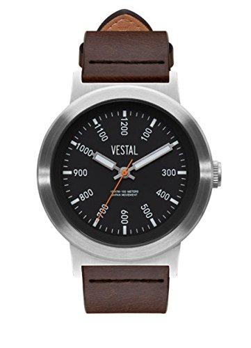 Vestal - Reloj casual de cuarzo para hombre, de acero inoxidable y cuero, color marrón (modelo: SLR443L01.DBNK)
