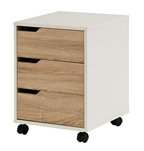 hjh OFFICE 674330 Rollcontainer Organiser Eiche hell/Weiß Büro Beistellschrank mit Schubladen und Rollen - Eiche Hell Büro