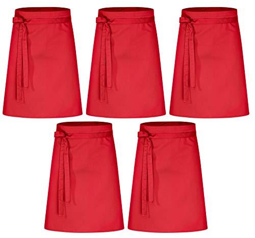 DESERMO 5er Pack Vorbinder Schürze 60 x 80 rot 35% Baumwolle / 65% Polyester