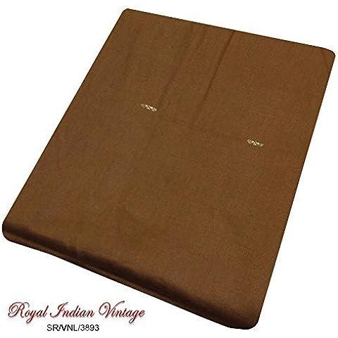 annata sari indiano mestiere tessuto cucito a mano tessuto sari 5YD usato tessuto marrone riciclato arte tenda di seta materiali drappo donne artigianale avvolgere abito pareo upcycled decorazioni per la casa - Arte Seta Tende