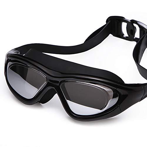 Y&SJ Erwachsene Schwimmbrille, verstellbare Gläser der Schutzbrille-HD Bügel-Galvanisierter großer Rahmen kein Durchsickern Triathlon-Schwimmen-Gläser für Frauen-Jugend-Unisex,A
