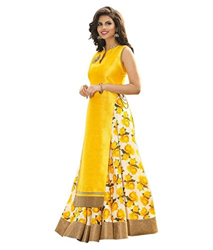 M&M WORLD. Cotton & Crush Lehenga Choli (01-LH-ROSANI-YELLOW_Yellow_Free Size )
