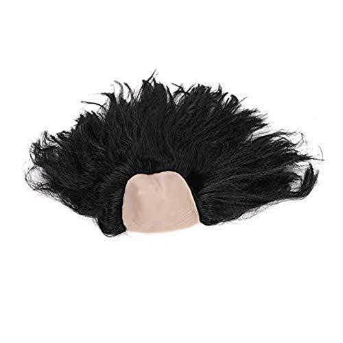 e Perücke Glatze Kunsthaar in Karneval Kostümparty Cosplay Fasching Spielen Haarteile Unisex für Damen Frauen Wig lustig als Old Women Alte Dame Modellierung Schwarz Weiß ()