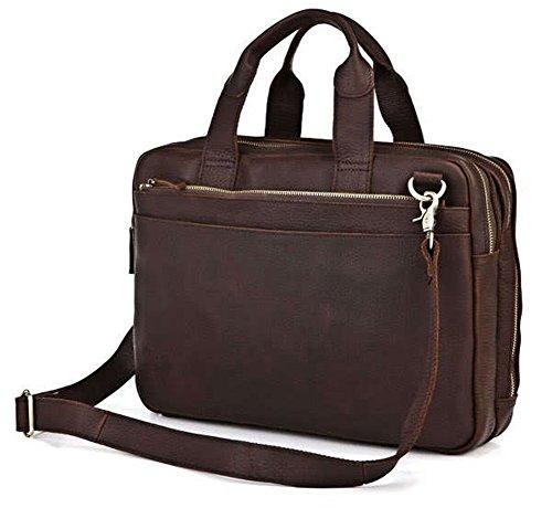 Everdoss Hommes sac à main en cuir sac d'épaule sac de messager sac à bandoulière sac de business commercial brun foncé