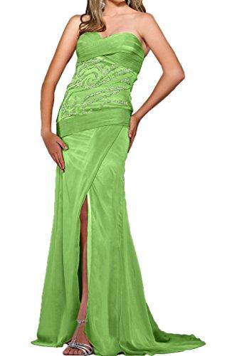 Gorgeous Bride Fashion Herz-Ausschnitt Etui Chiffon Lang Schleppe Schlitz Abendkleider Cocktailkleid Ballkleider Grün