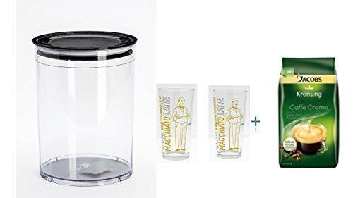 Preisvergleich Produktbild Dose für 1kg Kaffeebohnen, Tee, Kakao, + 2 Latte Gläser cc 350 Grosse Glas Coffee & More stabelbar +Jacobs Krönung Crema ganze Bohnen Inhalt: 1 kg