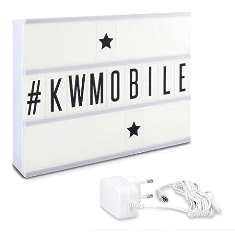 kwmobile LED Lichtbox A4 Lightbox - 105 schwarze Buchstaben Zahlen Zeichen Symbole - Netzteil - Deko Leuchte Light Box - Cinema Leuchtkasten Lampe