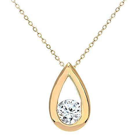 Naava Women's 9 ct Yellow Gold Half Carat Diamond Teardrop Pendant and Chain of 46 cm