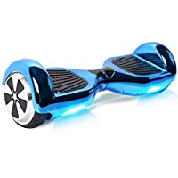 BEBK MoovWay 6.5 Inch Hoverboard - Self Balancing Two Wheels Scooter with LG Battery, Portable Carry Handle with LED Light (chrome blue)