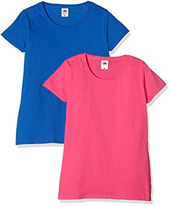 Fruit of the Loom Ladies Valueweight T, Top Donna, Multicolore (Royal/Fuchsia), XS Pacco da 2
