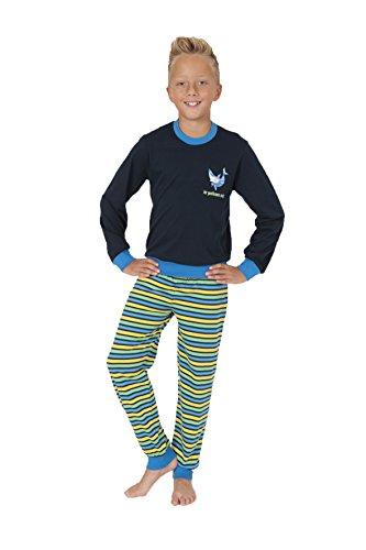 Jungen Pyjama Schlafanzug langarm mit Bündchen und gestreifter Hose 58500, Farbe:navy;Größe:152 (Gestreifter Herren-pyjama)