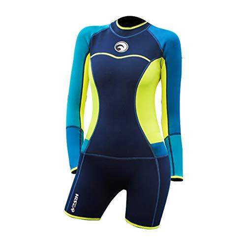 Taucheranzug Anti-UV Einteiliger Badeanzug Langarm Frauen Neoprenanzug Schwimmen Shorts(Dunkelblau,M) ()
