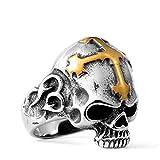 Beydodo Titan Ringe für Männer Kreuz Totenkopf Schädel Punk Ring Silber Gold Partnerring Größe 62 (19.7)