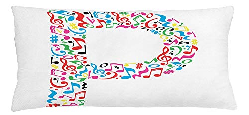 Trsdshorts Letter P Throw Pillow Cushion Cover, Notes of Music Harmoniously Combined Creating Capital P Alphabet ABC Design Print, Decorative Square Accent Pillow Case, 18 X 18 Inches