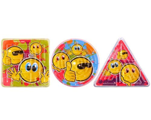 The Toy Jar 60Smiley, Labyrinth Mini Puzzle Dreieck Kreis quadratisch