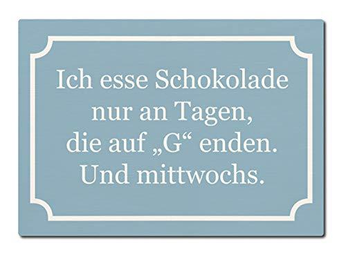 LUXECARDS Interluxe Postkarte aus Holz Ich Esse Schokolade nur an Tagen, die auf G Enden. Und mittwochs.Geschenk Spruchkarte Frauen