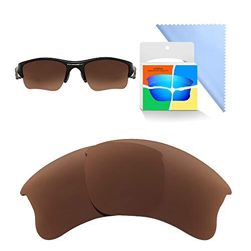 Oak&ban Spiegelpolarisierte Ersatzgläser für Oakley Flak Jacket XLJ Sonnenbrille, Verschiedene Optionen, mit Brillentuch, Herren, Brown-Polarized