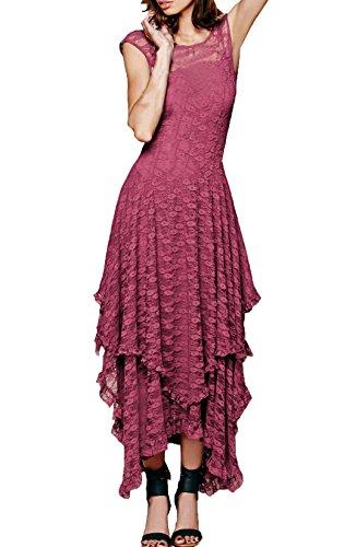 Femme Robes En Dentelle Longues Sans Manche Transparente Dos Nu Asymétrique Chic Vintage Robes Habillées Robes De Soirée Rose